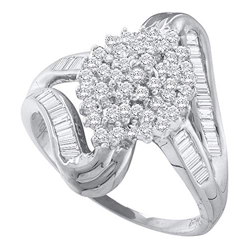 Dazzlingrock Collection 10kt White Gold Womens Round Diamond Cluster Swirl Shank Baguette Ring 1/2 Cttw Baguette Diamond Swirl Ring