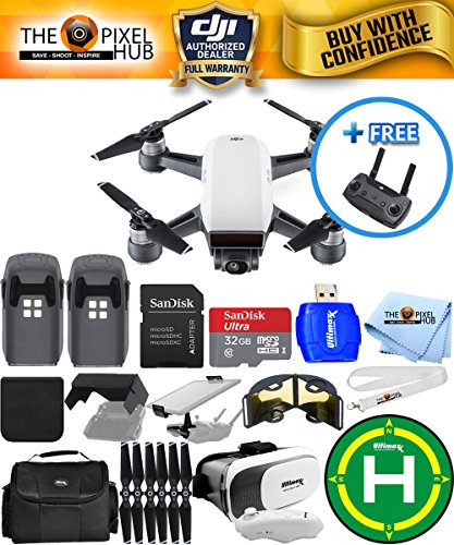 DJI Spark Quadcopter With FREE Remote EXTREME ALL YOU NEED PROFESSIONAL BUNDLE With 2 Batteries (Total) Landing Pad, Extra Props, 32GB Micro SD Card Plus Much More (Alphine White)