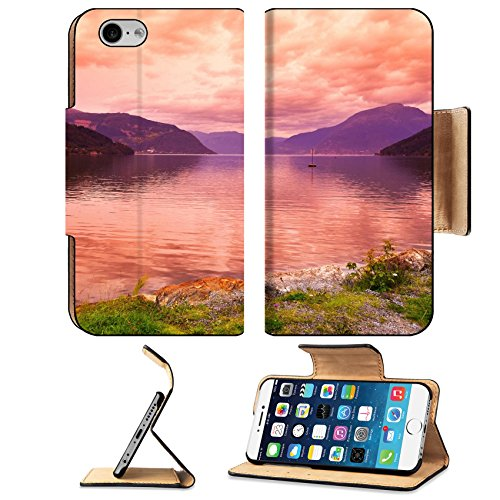Liili Apple Iphone 6 Iphone 6S Flip Pu Leather Wallet Case Sunset In Fjord Hardanger Norway Nature And Travel Background Iphone6 Image Id 39021222
