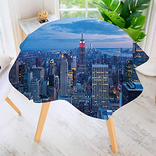 UHOO2018 Easy-Care Cloth Tablecloth Round-Decor Aerial Night View of NYC with Dusk Sky Cloudy Sunset in City Great for Buffet Table, Parties, Holiday Dinner & More 35.5