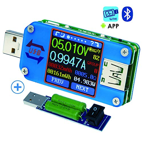 (USB Meter, Tester, Multimeter, USB Load, UM25C,Bluetooth Type-c Current Tester, Voltage Detector, DC 24.000V 5.0000A, Test Speed of Charger Cables, Capacity of Power Bank, QC 2.0 3.0 (UM25C))