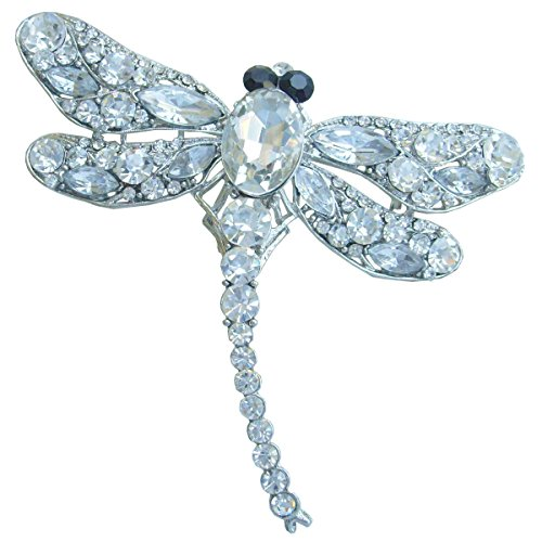 Insect Dragonfly Brooch Pin Pendant Rhinestone Crystal (Silver-Tone Clear) ()