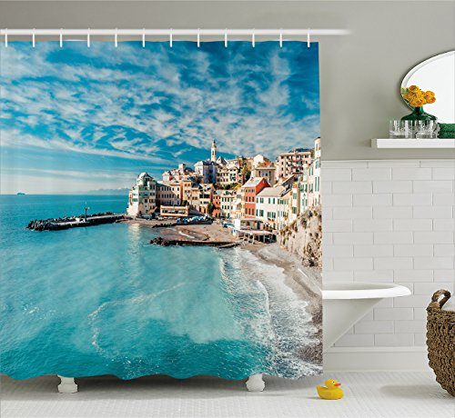 Farm House Decor Shower Curtain by Ambesonne, Panorama of Old Italian Fish Village Beach Old Province Coastal Charm Image, Fabric Bathroom Decor Set with Hooks, 70 Inches, Turquoise