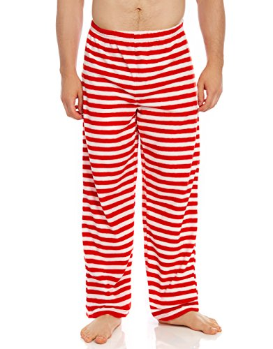 (Leveret Fleece Mens Sleep Pants Red & White Large)