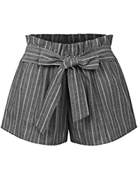 Womens Casual Striped Summer Beach Shorts with Self Tie Bow