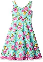 Rare Editions Little Girls' Floral Print Textured Knit Dress, Aqua, 5