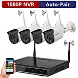 ONWOTE 1080P HD Outdoor Wireless Security Camera System, 4 Pcs 960P HD 1.3 Megapixel Night Vision Video Surveillance Cameras, NO Hard Drive (Built-in Router, Auto Pair)