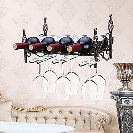 Estantería de vino Estante del vino Botellero, montado en la pared estante del vino, del hogar de hierro Estante, puede sostener 4 botellas de vino, 6 copas de vino estante encimera estante de vino pe