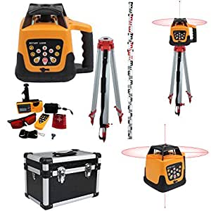 Ridgeyard Automatic Red Beam Rotary Rotating Laser 500m Range Self-leveling Rotary Laser Level Remote Control With Case + Portable 1.63M Aluminum Tripod + 5M Staff Level Rod