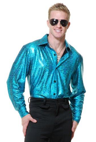 Turquoise Crocodile Skin Disco Shirt (1970s Disco Shirt)