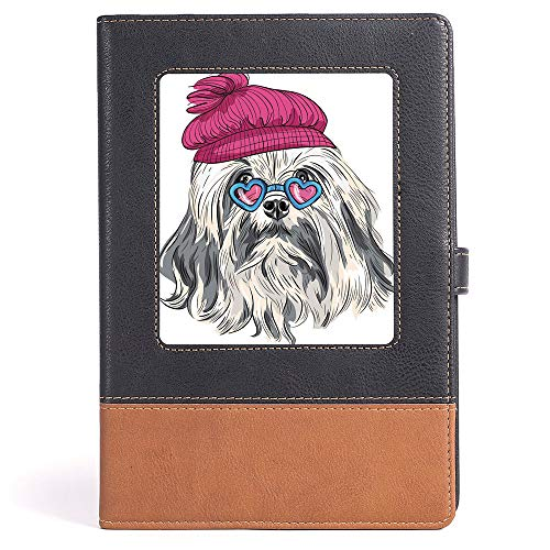 (Indie - Case Bound Notebook - Lion Bichon Lowchen Breed Cute Dog with Heart Shaped Glasses and French Hat Print Decorative - 100 sheets/200 pages - A5/6.04x8.58 in)