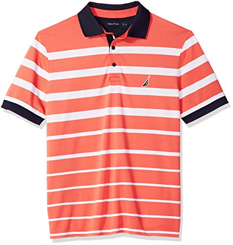 Nautica Men's Classic Fit Short Sleeve Striped Moisture Wicking Polo Shirt, Dreamy Coral, (Classic Striped Striped Polo Shirt)