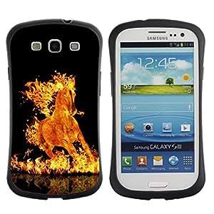 "Pulsar iFace Series Tpu silicona Carcasa Funda Case para SAMSUNG Galaxy S3 III / i9300 / i747 , Fuego Llamas Caballo Negro Ardiente Infierno Mustang"""