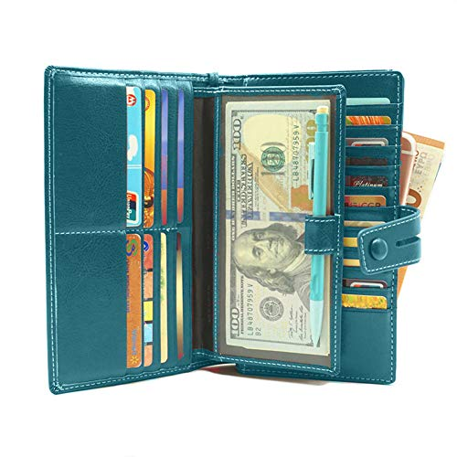 Women's RFID Leather Wallet Clutch Checkbook Holder, Large Capacity Zipper Womens Wallets with Removable Wristlet Strap