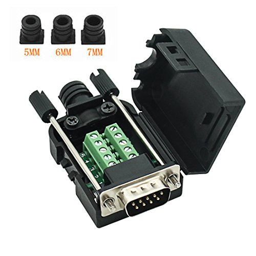 Connector DB9 RS232 D-SUB Male Adapter 9-pin Port Adapter to Terminal Connector Signal Module with case(Male Connector, DB9 5+5 with case A)