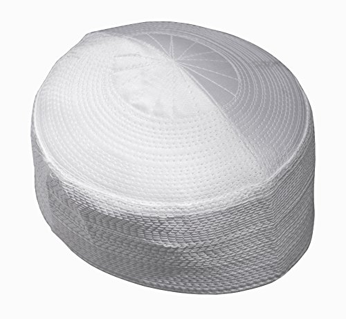 Beautiful Rigid White 22.5-inch Muslim Islamic Kufi Hat Taqiya Takke Skull Cap Kofiah (Kufi Hats Indonesia Style)
