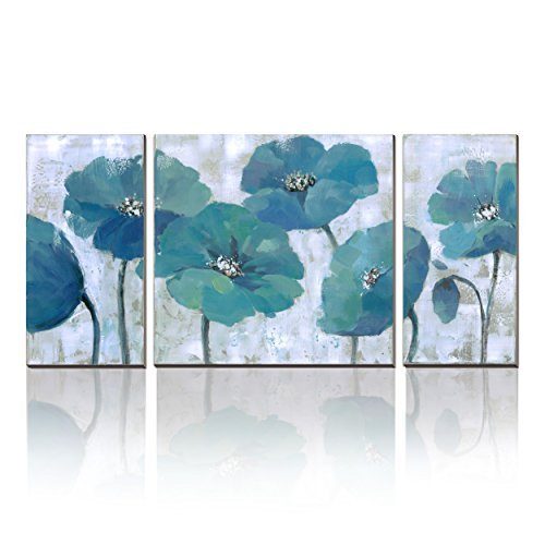 3Hdeko - Teal Flower Painting Aqua Blue Floral Wall Art Prints on Canvas for Living Room Bedroom 3 Pieces Abstract Wall Decor