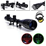 RioRand Rifle Scopes for Hunting 6-24X50mm AOEG Optics Hunting Rifle Scope Red/Green Illuminated Mil-dot Reticle Crosshair Gun Scope With Free Mounts