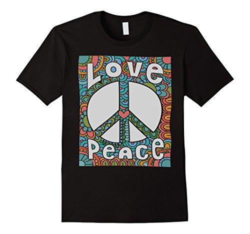 Mens PEACE SIGN LOVE T Shirt 60s 70s Tie Die Hippie Costume Shirt XL (60s Mens Clothes)