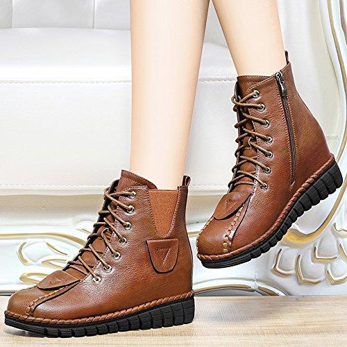 En Botas Botas Ejército De 35 38 Martin Botas Plano 5Cm Mujer Botas Zapatos Moda Zapatos De Fondo AJUNR Y Brown Retro Hembra Las Del RqUxan