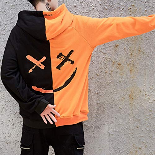 Imprimé Sweat Sweatshirts À Capuche Hip Orange De Tops Colorblock Noir Be Hop Style Loisirs Lâche Vêtements Sweatshirt Happy Hommes wXBqdYX