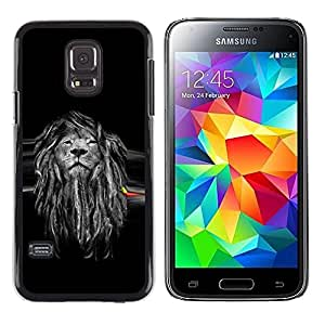 LECELL -- Funda protectora / Cubierta / Piel For Samsung Galaxy S5 Mini, SM-G800, NOT S5 REGULAR! -- Beautiful Majestic Lion Rasta --