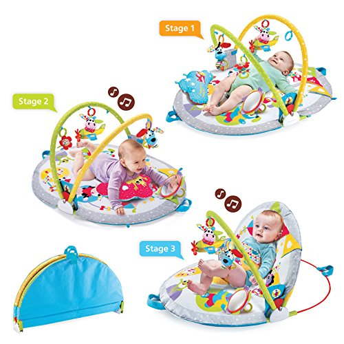 Yookidoo Gymotion Lay to Sit-Up Play Mat Infant Activity Toy for Baby 0 - 12 Month (Games To Play With 6 Month Old Baby)