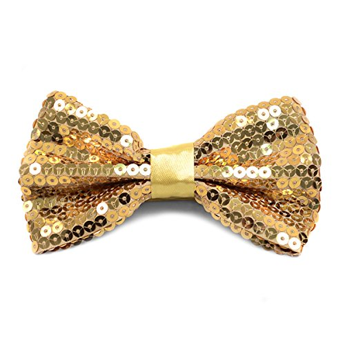 Men's Sparkle Sequin Banded Bow Ties (Gold Sparkle Bow Tie)