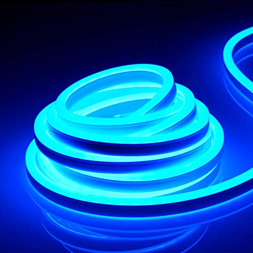 TORCHSTAR 50ft IP67 Waterproof LED Rope Light, 120V Flexible Strip Lights, (150ft Max) Linkable Neon Light for Indoor & Outdoor Decor, Ambient Decoration, Commercial Building, Blue