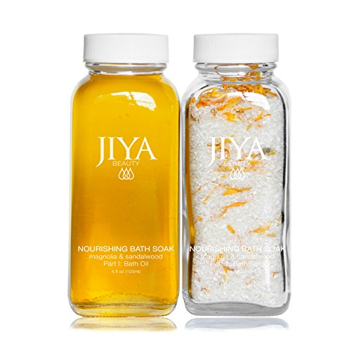 Nourishing Bath Soak by JIYA BEAUTY Magnolia Sandalwood. Two-Part soak with Organic Oils, Botanicals, Epsom Salts and Calendula. Nourish Skin, Destress and Relieve Muscle Tension.
