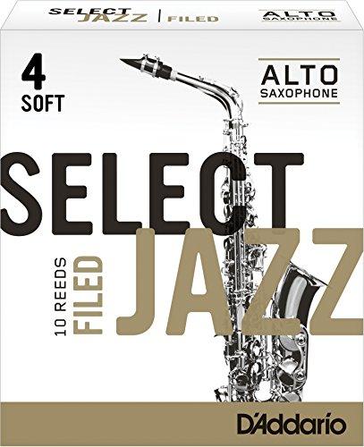 Rico Select Jazz Alto Sax Reeds, Filed, Strength 4 Soft, 10-