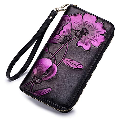 Leather Hand Flower Wallet Painted (APHISON Women RFID Leather Wallet Hand Painted Flowers Ladies Wristlet Wrist strap Long Purse Zip Around Phone Clutch - Peony/Bauhinia (B-PURPLE))
