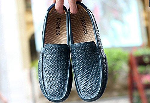di da Driving Mocassini Mocassini pelle Nero grandi Scarpe barca dimensioni blu Studio Sk Men Shoes in WF1f7FvH