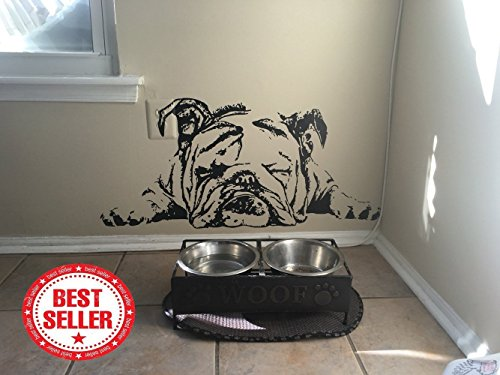 "English Bulldog Decal English Bulldog Sticker Dog Sticker Dog Decal Lazy Dog Sleeping Dog Cute Puppy Wall Art Stickers Tr259 (6"" x 13.2"")"