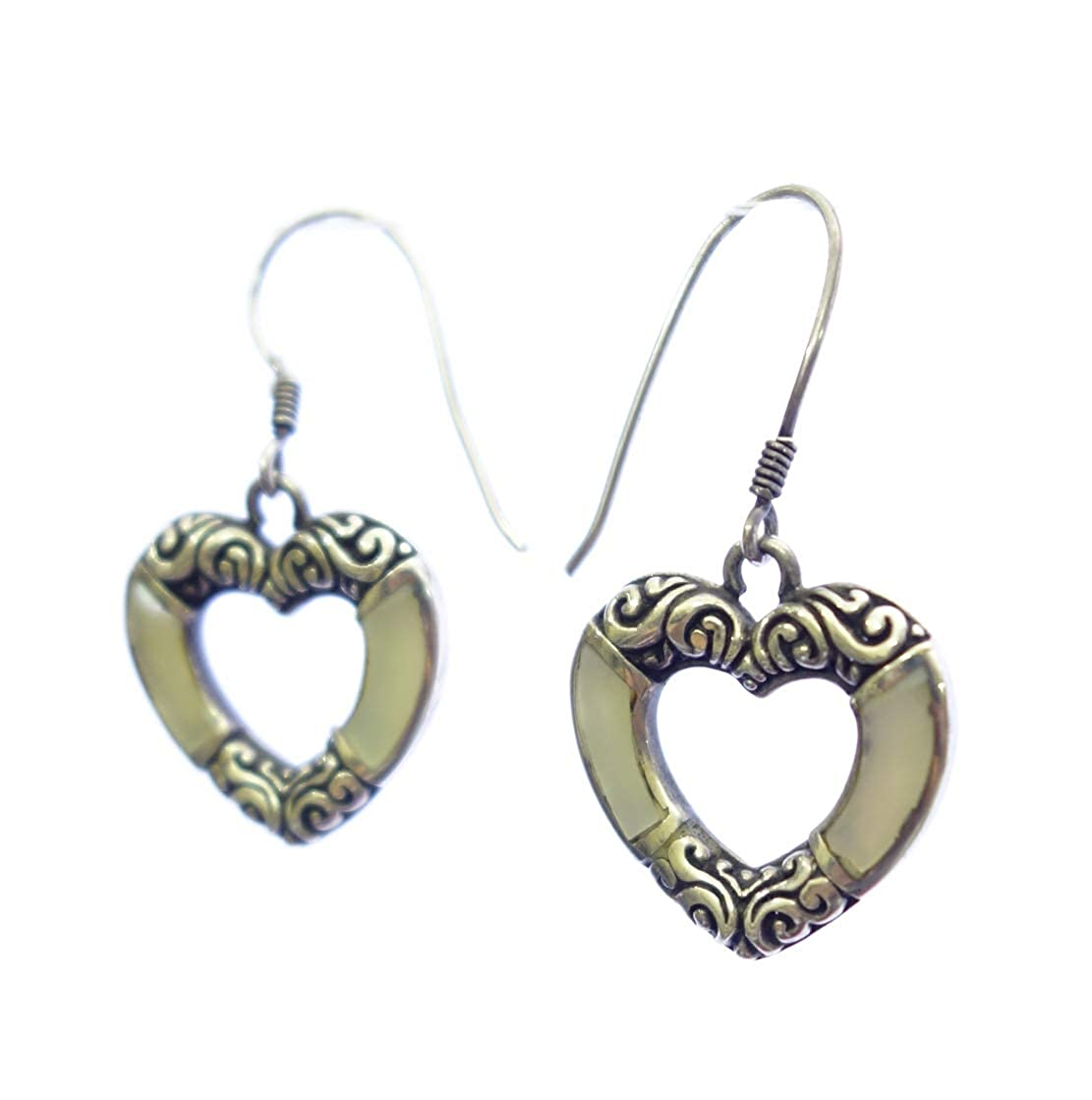 AUTHENTIC BALINESE HEART SHAPED MODERN FASHION DROP DANGLE 925 STERLING SILVER EARRING FOR WOMEN /& GIRLS MOTHER OF PEARL UNIQUE DESIGNER HANDMADE EARRING JEWELRY BY ARTISANS
