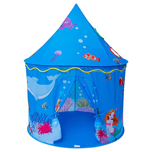 Homfu Play Tent for Kids Mermaid Castle Playhouse for Boys Girls Sea World Pattern Children Tent