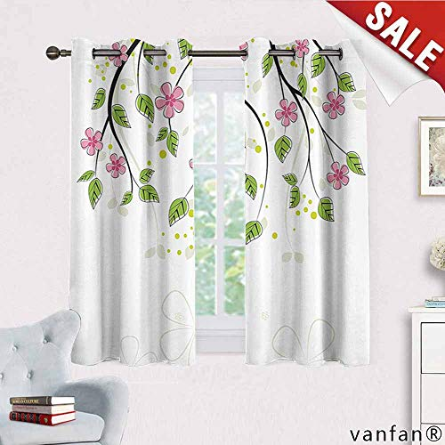 Big datastore House Decor Curtains,Branch with Flowers Leaves Cartoon Illustration Happy Childhood Summer Nature Artwork for Living Room Dining Room,Pink Green W55 x L45