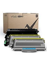 (1 + 2) v4ink & # 174; El nuevo compatible de tóner de repuesto para Brother DR360 + TN360 (de carga 2 Toner, 1 tambor, 3 Pack) para impresora HL-2140 2150 2170series DCP-7030 7040series MFC-7340 7440 7840 series, Paquete de 3 - Negro