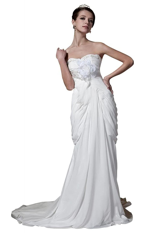 GEORGE BRIDE Slim Fit Chiffon Wedding Dress With Handmade Flower