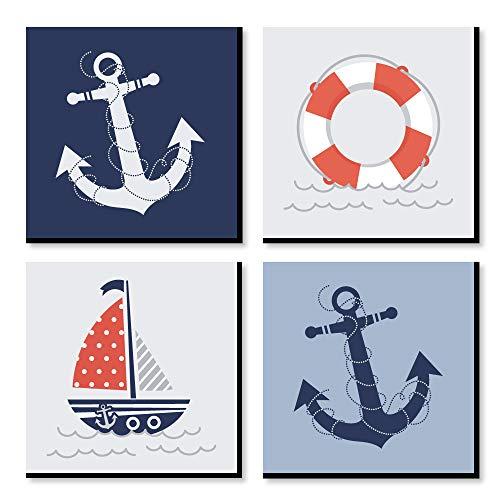 Big Dot of Happiness Ahoy - Nautical - Kids Room, Nursery Decor and Home Decor - 11 x 11 inches Kids Wall Art - Set of 4 Prints