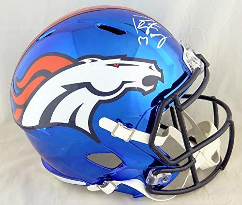 Peyton Manning Autographed Denver Broncos F/S Chrome Helmet- JSA W Auth White