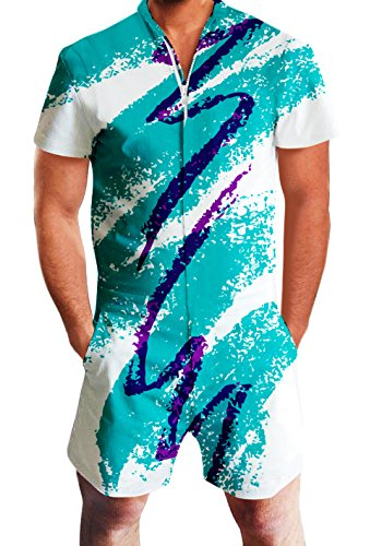 Guys Men Blue Jazy Solo Jumpsuit Short Sleeve Retro Rompers 3D Tie-dye Printed Tropical Overalls Clothes 80s 70s Casual Hawaii Beach Work Party Awesome Zip Up Man Playsuits Costume XXL 2XL