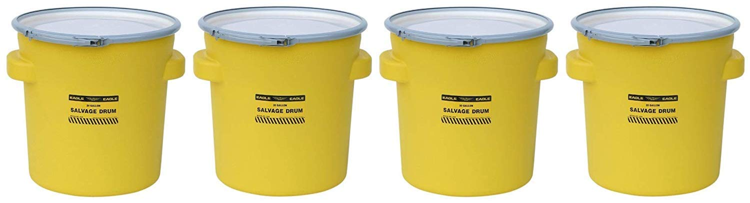 Eagle 1654 Yellow Blow-Molded HDPE Salvage Drum with Metal Ring Lever-Lock Lid, 20 gallon Capacity, 21'' Height, 21'' Diameter (Pack of 4)