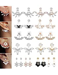 12 Pairs Fashion Silver Plated Leaf Feather Flower Crystal Ear Jacket Front and Back Stud Earrings for Women Girls Set