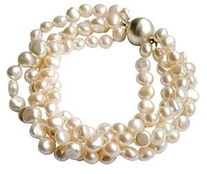 Pulsera de cuatro vueltas con perlas barrocas blancas cultivadas de agua dulce con broche redondo en plata