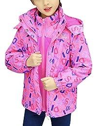 Zhhlinyuan Kids Boys Girls 3 in 1 Waterproof Ski Windproof Jacket Fleece Outwear