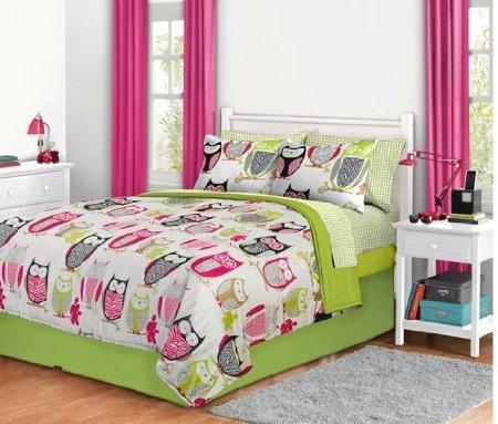 Pink Sketchy Owl Comforter Set - Queen