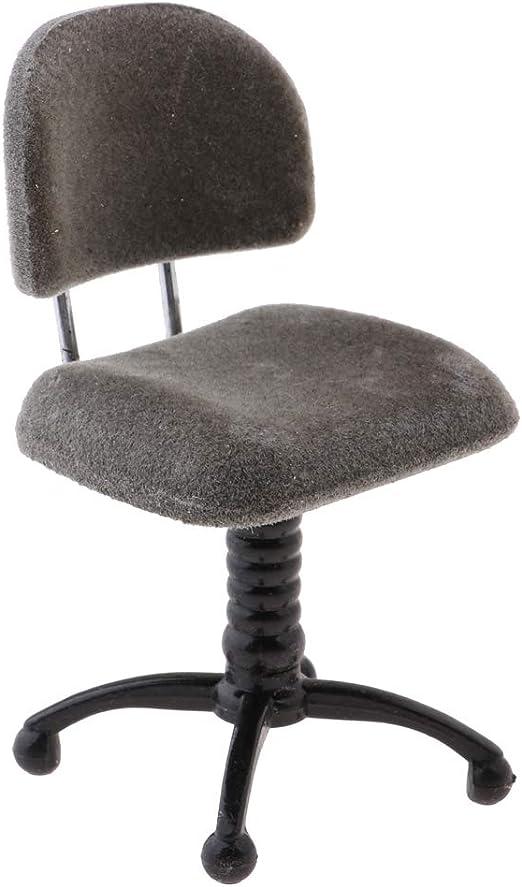 Prettyia 1//12 Dolls House Miniature Fluffy Revolving Chair Desk Chair Decor
