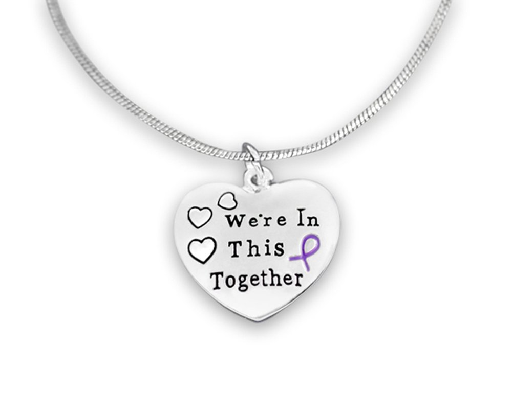 Fundraising For A Cause Purple Ribbon We're in This Together Necklaces (12 Necklaces in a Bag)