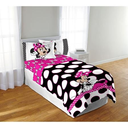 Disney's Minnie Mouse Pink & Black Polka Dots Full Comforter & Sheet Set (5 Piece Bed In A Bag) + HOMEMADE WAX MELT (Minnie Comforter Set)
